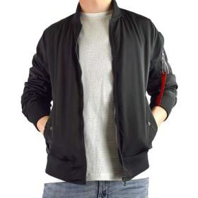 Clack (クラック) 大きいサイズ ジャケット MA-1 ミリタリージャケット ジップアップ ブルゾン リブ使い 防寒 アウター 羽織り 春 秋 冬 メンズ 41.ブラック 2L