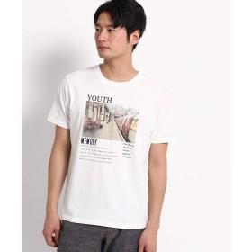(ザ ショップ ティーケー) THE SHOP TK フォトプリントTシャツ 61626608 03(L) オフホワイト(703)