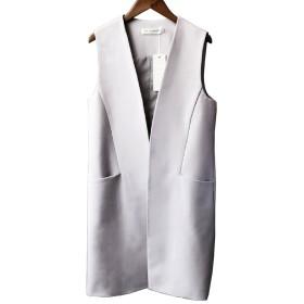 RayCroce(レイクローチェ) レディース ベスト ロングベスト スリム 細見え ゆったり Vネック ポケット 襟なし ミドルスタイル 色無地 ベーシック 1803YR0205