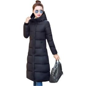 ロングコート ダウンコート レディース 中綿 ダウンジャケット ベンチコート 中綿ジャケット 着痩せ 大きいサイズ アウター ジャケット ロング丈 暖かい 軽い ロング 冬 アウター 軽量 ダウン ファッション 通学 通勤 (ブラック, 3XL)
