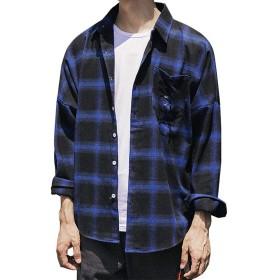IKRR メンズ シャツ カジュアル ワイシャツ 長袖シャツ チェックシャツ オシャレ ファッション メンズ ビジネス ボタンダウン ボーダー yシャツ (ブルー, S)