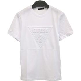 GUESS(ゲス) 半袖 Tシャツ 三角ロゴ エンボス クルーネック 男女兼用 MJ2K8504MI ブラック・ホワイト・ピンク (S, ホワイト)