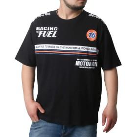 [セブンティーシックス] 大きいサイズ メンズ Tシャツ 半袖 プリント ブラック 2Lサイズ:身丈73cm 肩幅51cm 身幅59cm 袖丈25cm 胸囲104~112cm