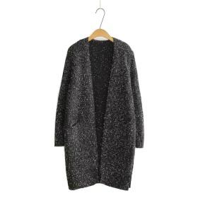 (エスライフ)S-Lifeeling レディース カーディガン 前開き 長袖 秋冬 ゆったり ソフト 柔らかい 暖かい ロング丈 霜降り セーター ニット ブラック フリーサイズ