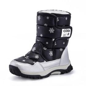 [TONGYANWUJI] キッズ ブーツ ウインターブーツ スノーブーツ 防寒 雪 スキー 防水 女の子 子供用 可愛い 滑りにくい 通学 プレゼント ブラック 19.0CM