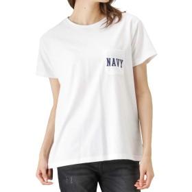 Navy(ネイビー) ポケット付きTシャツ 半袖Tシャツ クルーネックTシャツ EJ193-WC155 レディース ホワイト:M