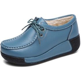 [Fainyearn] レディース 厚底スニーカー 冬 防寒 保暖 船型底ナースシューズ 裏起毛 ダイエットシューズ 姿勢矯正 ダイエット 厚底シューズ 美脚 軽量 レースアップ 看護師 作業靴 歩きやすい 疲れにくい 婦人靴 ウォーキングシューズ ブルー 22.5cm