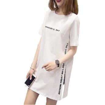 [レリカ] ゆったり 半袖 Tシャツ ロング ミニ ワンピース レディース 白シャツ ティシャツ ティーシャツ 白tシャツ ビッグTシャツ 七分袖 xlarge (ホワイト, L(※日本サイズM))