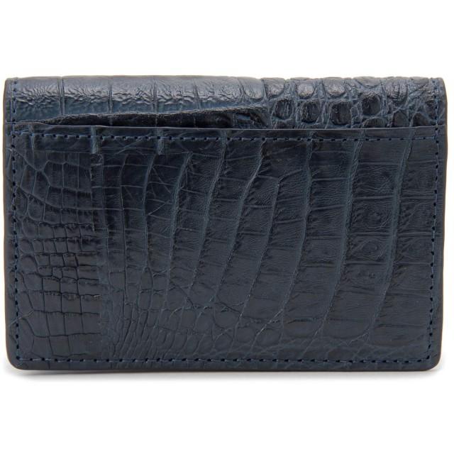 カイマン ワニ革×牛革 本革 名刺入れ CJN0010NV カードケース ネイビー 高級皮革 エキゾチックレザー 新品