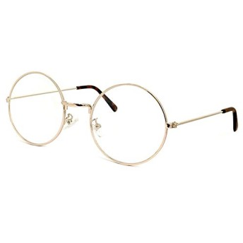 (PAGEBOY) ダテ眼鏡 py2392-9 ゴールド ラウンド型 丸眼鏡 py2392 メンズ レディース ビッグレンズ UVカット クリアサングラス 紫外線対策