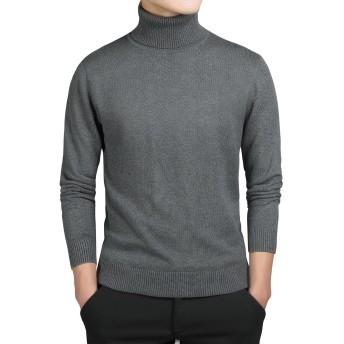 Amilia メンズ ニット セーター タートルネック 綿100% 無地 長袖 カジュアル 秋冬 (XL, ダークグレー)