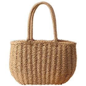 Fashion maker(F&M)カゴバック レディース バスケット ハンドバッグ 可愛い 軽量 手提げ ハンドバッグ 上部巾着 全2色 (ベージュ)