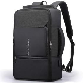 ZZINNAビジネスリュック メンズ 大容量 防水 15.6インチPC USB充電ポート 通学 通勤 バックパック リュックサック リュック 男 ブラック