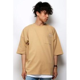 ヴァンスエクスチェンジ メンズ(VENCE EXCHANGE) USAコットン刺繍BIGTシャツ【ベージュ/LL】