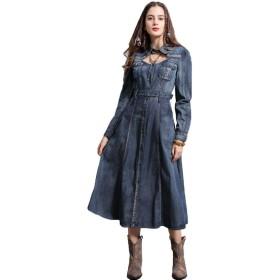春の新金 襟を打つ 刺繍 民族風 スカート 復古 帯 長袖 ワンピース S-XL (S