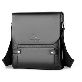 ショルダーバッグ メンズ ビジネスバッグ 縦型 iPad 収納可 斜め掛けバッグ 皮 革 人気型 耐久性 通学 通勤鞄 軽量 実用 自転車 メッセンジャーバッグ かばん男性用 黒 ブラック ブラウン(HA-063) (黒-HA063)