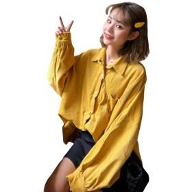 BSCOOLシャツ レディース 長袖 アウター トップス ブラウス コーデュロイ 大きいサイズ 韓国ファッション 春物 ドルマンスリーブ(イエロー)