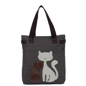 Good Boom トートバッグ ショルダーバッグ ママバッグ 手上げ袋 猫柄 キャンバス 大容量 親子トート 可愛い お出かけ A4対応 ファスナー付き コットン 5カラー tote bag-hui