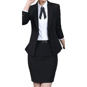 激情女郎 レディース セットスーツ OL オフィス 就活 ビジネス 通勤 リクルート 事務服 長袖 スカートスーツ ストライプ ブラック m