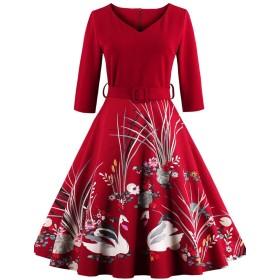 フォーマル 結婚式 花柄ワンピース レディース きれいめ ドレス フォーマルワンピース レディースワンピース お出掛け レッド 上品 シンプル ひざ丈 長袖 秋