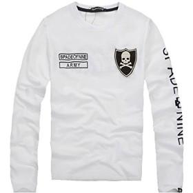 (スカルシリーズ) ロンT 長袖Tシャツ スカル ドクロ SKULL 【XZY4009 Mサイズ】 ホワイト クルーネック エンブレム バックプリント