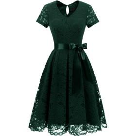 Dresstell(ドレステル) 結婚式 パーティードレス ワンピース レース 袖あり 膝丈 Vネック 二次会 お呼ばれ イブニング レディース ダークグリーン Lサイズ
