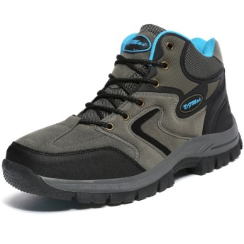 [Torisky] 軽量トレッキングシューズ ハイカット メンズ レディース 防水 登山靴 抗菌 ハイキング アウトドアブーツ(グレー23.5cm)