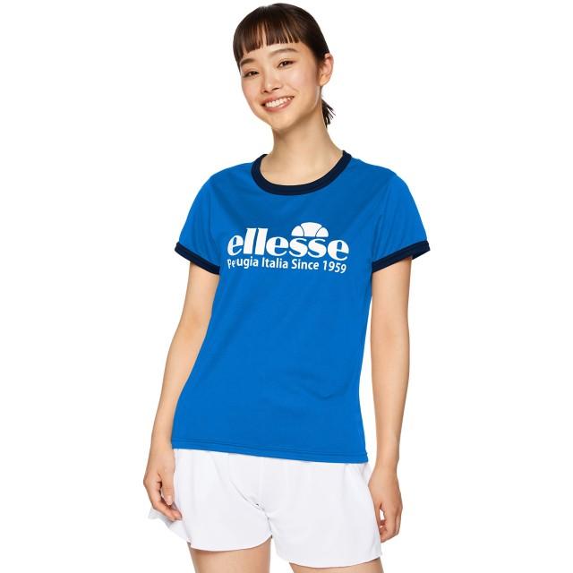 [エレッセ] テニスウェア 半袖 プラクティスロゴクルーシャツ [レディース] EM09106 プリンセスブルー (PB) 日本 WM (日本サイズM相当)