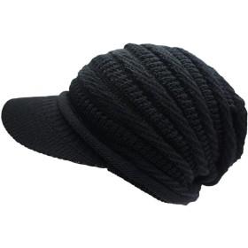 ドリームウォーク 帽子 ニット帽 コットンニットキャップ (Type3つばあり Mサイズ Black)