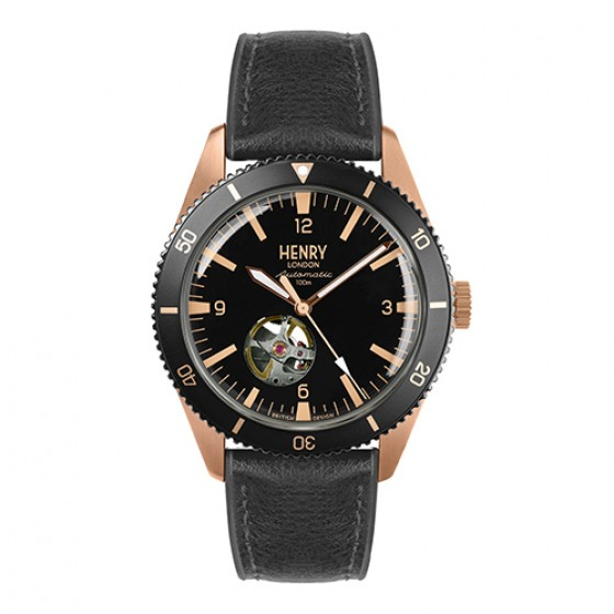 HENRY LONDON 英國設計師品牌手錶 | 英倫淺水風機械錶-黑面x玫瑰金色指針x仿皮黑色膠帶