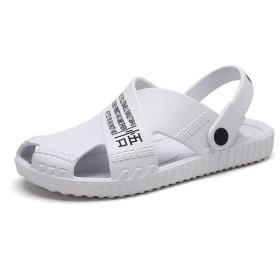 [麗人島株式會] 新しいファッション夏の靴牛革メンズサンダルメンズカジュアルシューズ滑り止めラバーソールビーチシューズ 26.5cm 白