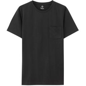 Navy(ネイビー) オーガニックコットン ポケット付きクルーネックTシャツ MH/03489SS メンズ クロ:L