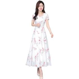 二次会 発表会 花嫁 海外 挙式 ウエディングドレス優雅レース 花柄 袖なし ワンピース 成人式 結婚パーティ (M, ホワイト)