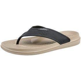 [Smilefoot] ビーチサンダル メンズ 男性用 軽量 通気 柔らかい 痛くない 滑り止め 島ぞうり 室内履き サンダル アウトドア 海 プール リゾート (27.5cm, ベージュ)