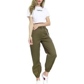 YACUN レディースパンツ カジュアル ズボン欧米風ヒップホップ女性 美脚 チェーン ポケット付き Armygreen S