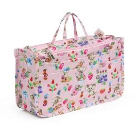 ミコム レディース Micom バッグインバッグ 収納バッグ 化粧ポーチ 13ポケット 動物柄 花柄 ハート柄 多機能 大容量 防水 (熊ちゃん)