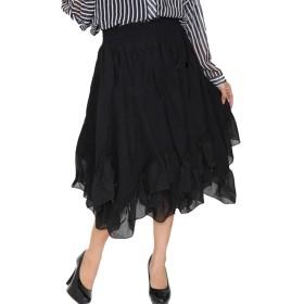 (Goldjapan)ゴールドジャパン 大きいサイズ レディース スカート フレア 膝丈 ひざ丈 黒 ブラック ロング
