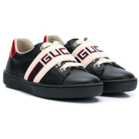 Gucci Kids ロゴ スニーカー - ブラック