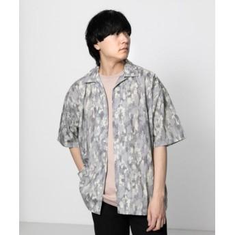 【61%OFF】 センスオブプレイス ペイントオープンカラーシャツ(5分袖) メンズ GRAY L 【SENSE OF PLACE】 【セール開催中】