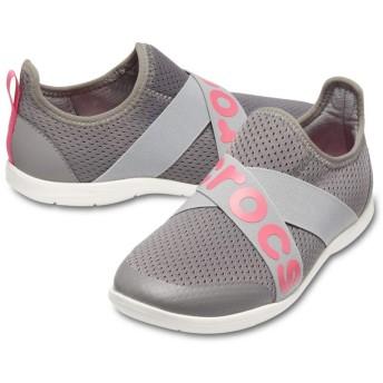 【クロックス公式】 スウィフトウォーター クロス ストラップ ロゴ アウトレット Women's Swiftwater Cross-Strap Logo Slip-On ウィメンズ、レディース、女性用 グレー/グレー 21cm,22cm,23cm,24cm,25cm shoe 靴 シューズ