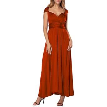 Loverbeauty ドレス ロング パーティー ロング 二次会 演奏会 大人 いろんな着方 無地 イブニングドレス レッド M
