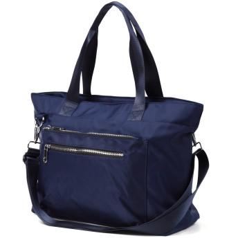 2WAYショルダーバッグ 大容量 軽量 トートバッグ ママバッグ 撥水 斜め掛け 通勤 通学 (ブルー)