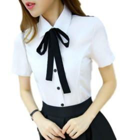 Homarina ブラウス ボウタイ 長袖 半袖 ホワイト リボン シャツ レディース S~XXXL 大きいサイズ まで (半袖/XL)