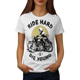 Wellcoda ライド ハード 死にます 若い バイカー 婦人向け 白 M Tシャツ