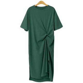 (フッカツ)Tシャツワンピース チュニック ゆったり クルーネック 半袖 ロング丈 不規則デザイン おしゃれ スリット 春夏 体型カバー 無地 シンプル 通勤 大きいサイズ グリーンXL