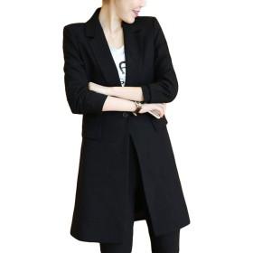 ZhongJue(ジュージェン)レディース ブレザージャケット ロング丈 スリム 無地 テーラードジャケット 韓国ファッション フォーマル ジャケット 黒 スーツコート 大きいサイズ オフィス 通勤(6黒)