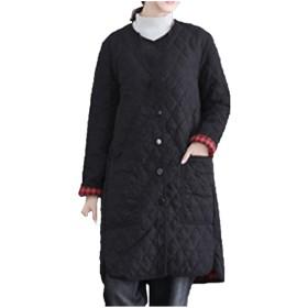 [エンジェルムーン] レディース コート ロング キルティング 襟なし ロングカーディガン チェック柄 ジャケット 秋冬 通勤 可愛い 防寒 防風 あったかい かっこいい かわいい アウトドア アウター オフィス カジュアル (XL, ブラック)