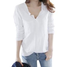 [Minesam] Tシャツ レディース コットン トップス インナーシャツ ベーシックシャツ ゆったり Vネック 薄手 長袖 シンプル カジュアル