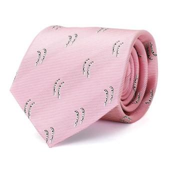 [カロラータ] チンアナゴ柄 ネクタイ (シルク100%) ジャガード織 [アニマル柄/小紋柄] ピンク 145cm×8.5cm