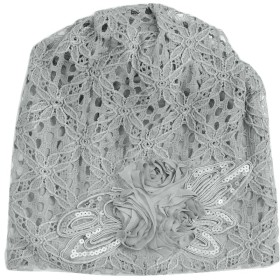 Plus Nao(プラスナオ) 帽子 サマーキャップ ワッチキャップ ビーニー 医療用帽子 レディース 女性用 フラワーモチーフ コサージュ お花 レ - グレー